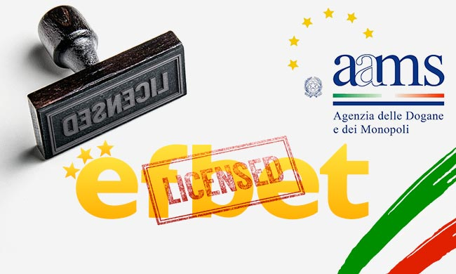 Efbet с лиценз от AAMS и сайт в Италия